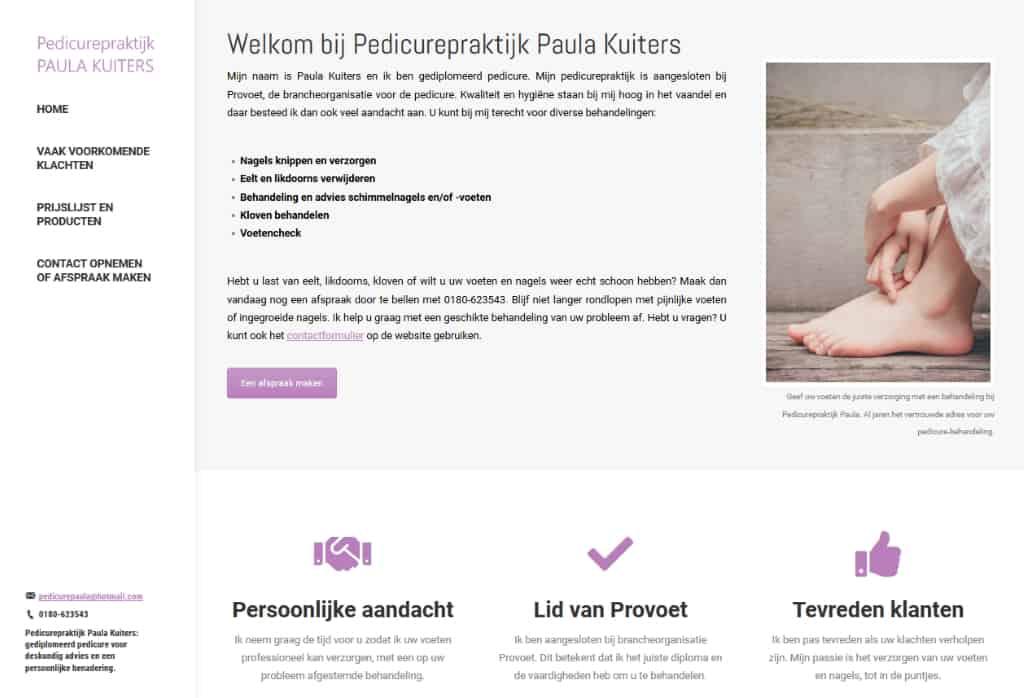 BeeWebdesign portfolio - Pedicurepraktijk Paula Kuiters