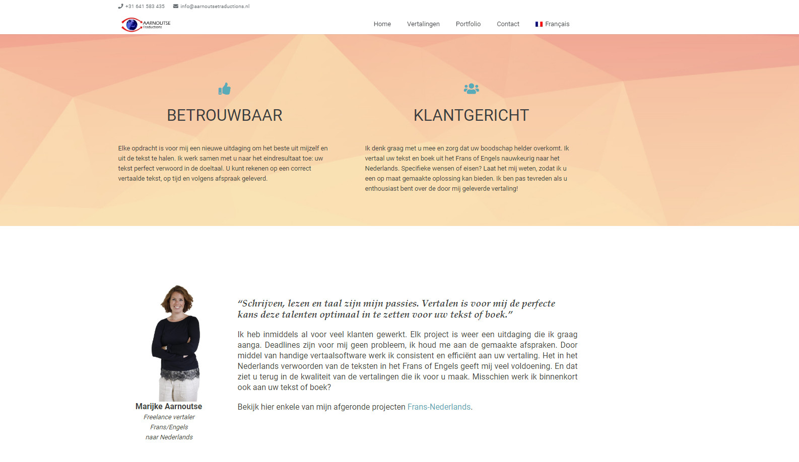 BeeWebdesign portfolio - Aarnoutse Traductions